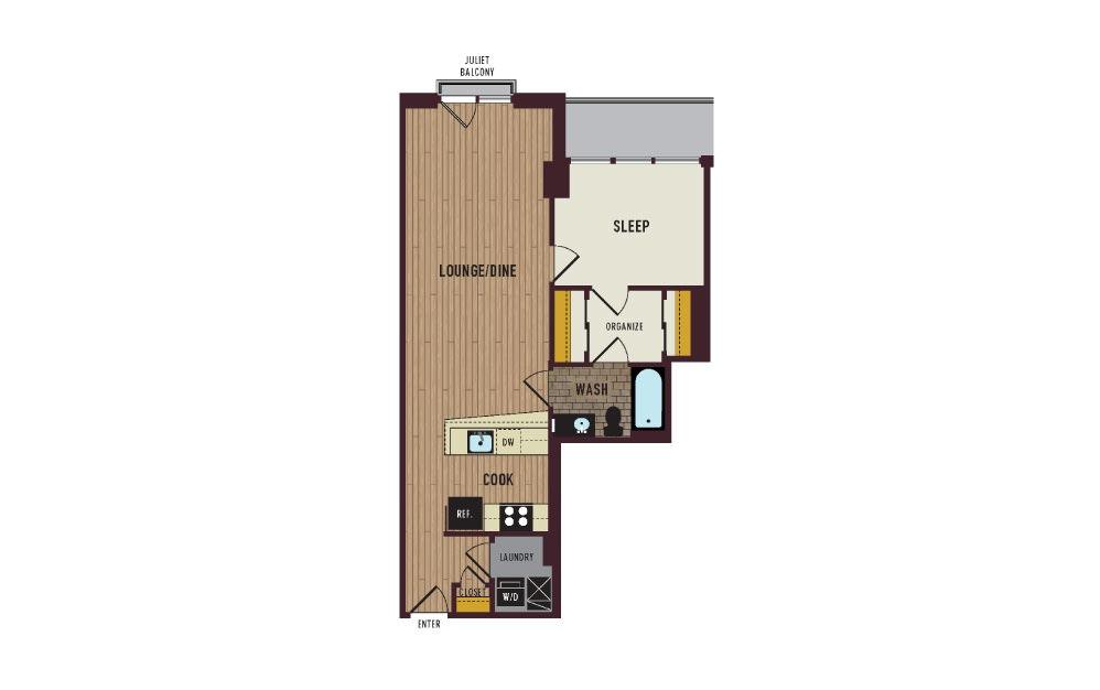 7th Flats One Bedroom Floorplan