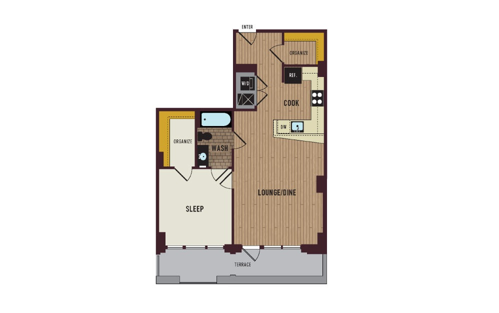 7th Flats One Bedroom Floorplan