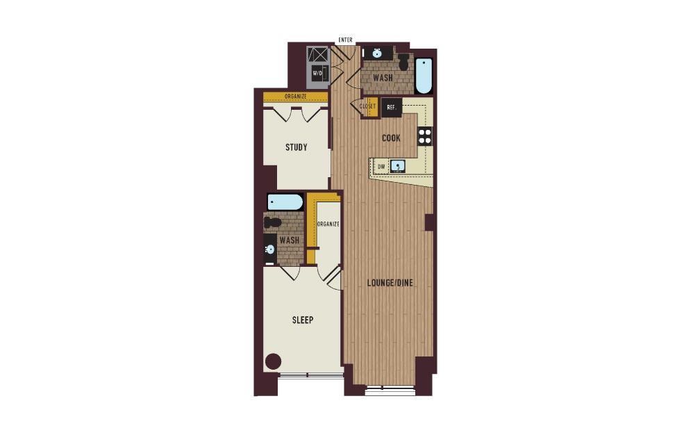 7th Flats One Bedroom with Study Floorplan