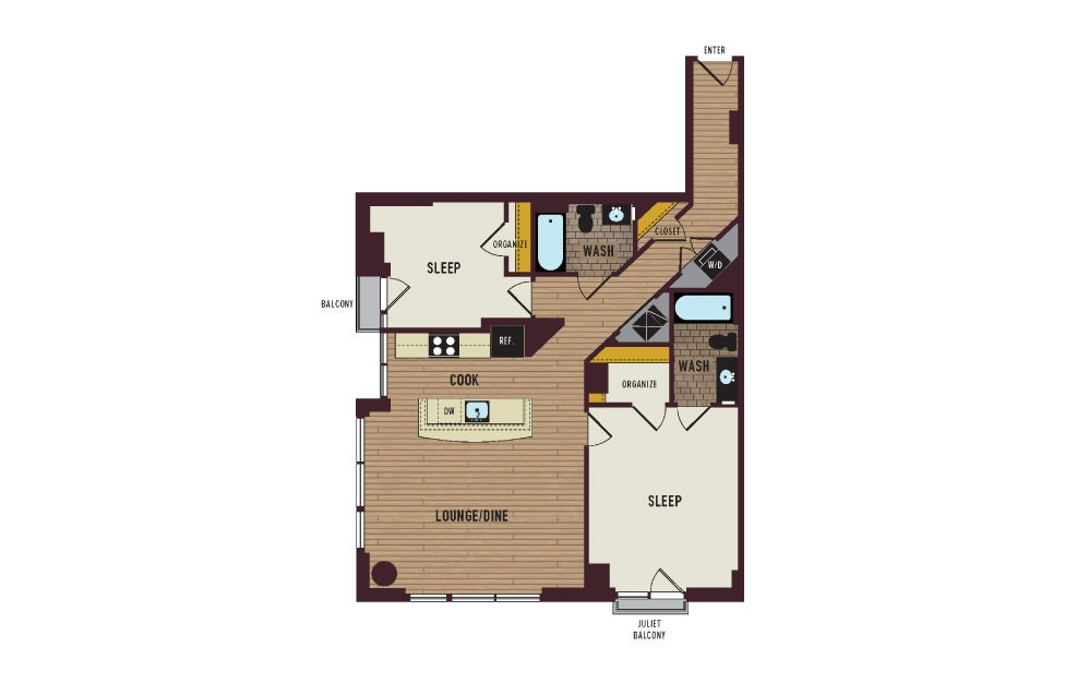 7th Flats Two Bedroom Floorplan