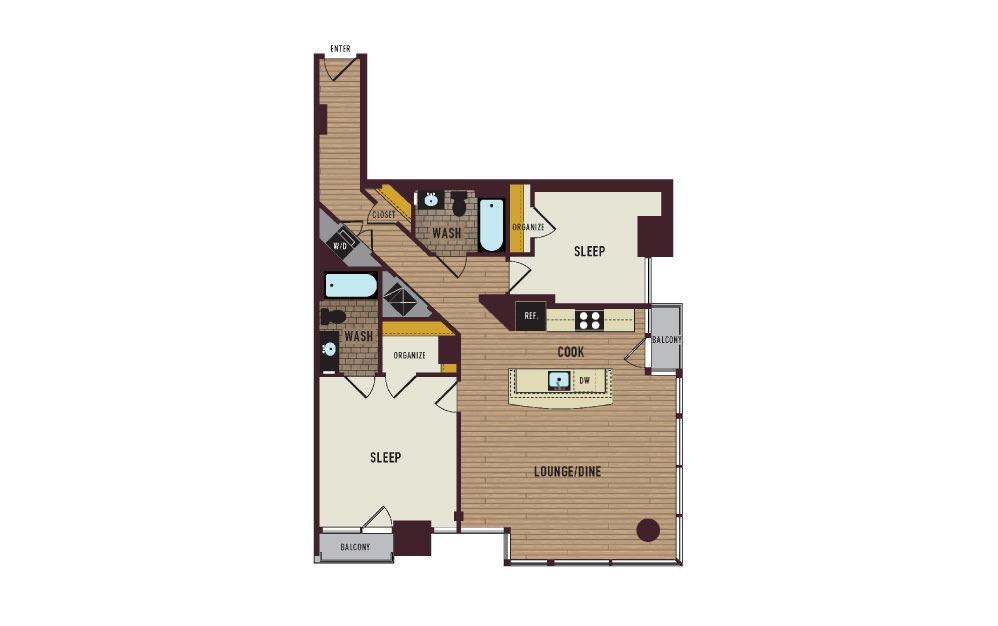 7th Flats Two Bedroom Floorplan