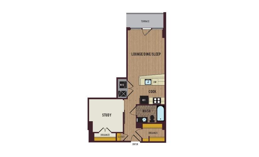 7th Flats Studio Floorplan